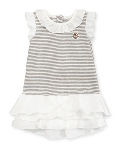 Ruffle-Trim Striped Pique Dress, Gray/White, Size 3-24 Months
