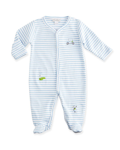 Chip & Putt Striped Footie Pajamas, Light Blue/White, Size NB-9 Months