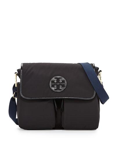 Nylon Messenger Baby Bag, Black