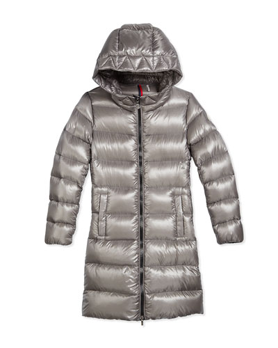 Suyen Hooded Down Coat, Gray, Size 8-14