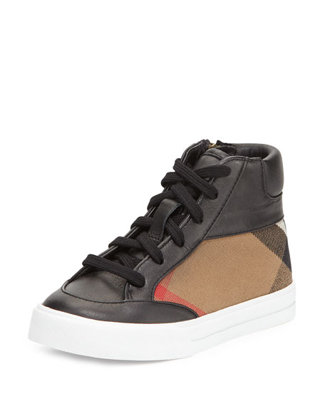 Burberry Haypark Mini Check High-Top Sneaker, Black/Tan, Toddler