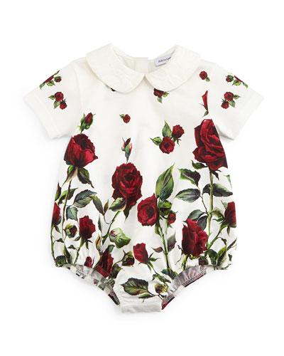Short-Sleeve Rose-Print Playsuit, White/Red, Girls