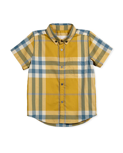 Short-Sleeve Check Fred Shirt, Yellow, Size 7-14