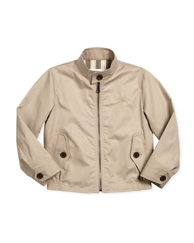 Long-Sleeve Twill Beckford Jacket, Taupe, Size 4-14