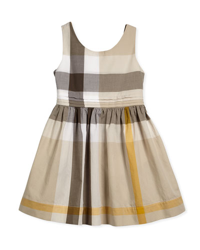 Anny Sleeveless Check-Print A-Line Dress, Mink Gray, Size 4Y-14Y