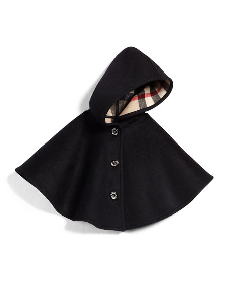 Burberry Rosa Hooded Button-Front Cape, Black, Size M-L