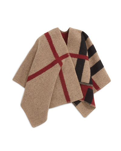 Girls' Mega Check Wool/Cashmere Cape