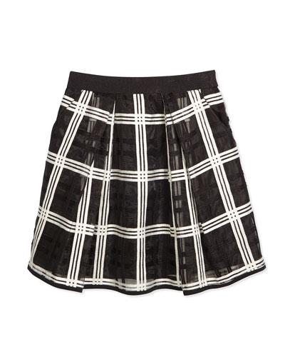 Kati Embroidered-Organza Pleated Skirt, Black/White, Size 8-14