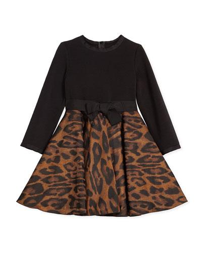 Leopard-Print Combo Dress, Camel/Black, Size 4-6