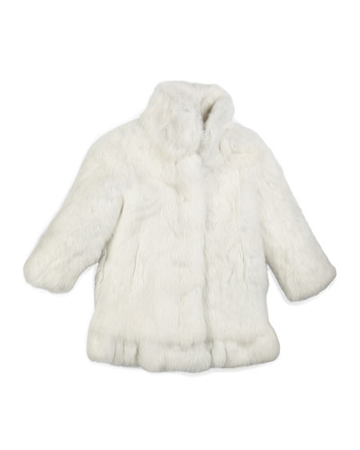 Rabbit-Fur Coat, White, Size 2-16