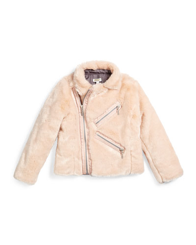 Faux-Fur Zip-Front Jacket, Light Pink, Size 6-12