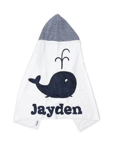 Boogie Baby Hooded Whale Towel, White/Blue