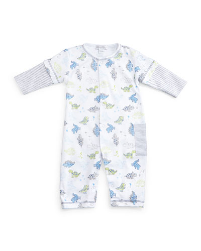 Dynamic Dinos Pima Coverall, White/Blue, Size 3-24 Months