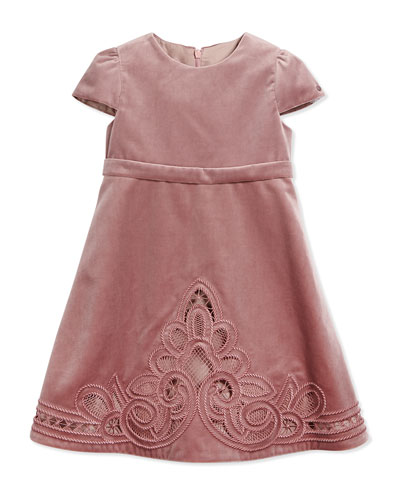 Cap-Sleeve Embroidered Velvet Dress, Pale Violet, Size 18-36 Months