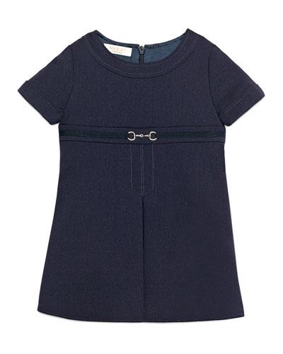 Short-Sleeve Gabardine Dress, Blue, Size 9-36 Months