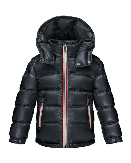 Moncler Gaston Web-Trim Down Puffer Coat, Navy, Size