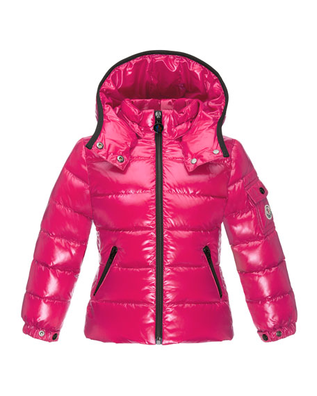 Moncler Bady Contrast-Trim Quilted Down Coat, Fuchsia, Size