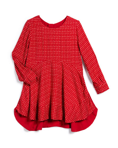 Long-Sleeve Printed Flare Dress, Red, Size 4-10