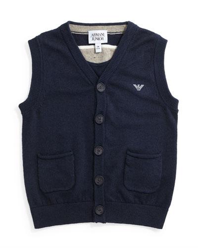 Knit Button-Front Vest, Size 4-8
