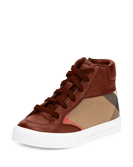 Burberry Haypark Check High-Top Sneaker, Red/Tan, Youth
