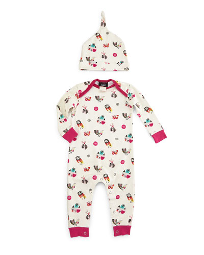 Owl-Print Coverall & Baby Hat, White, Size 3-24 Months