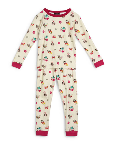 Printed Two-Piece Pajama Set, Cream, Size 2T-8