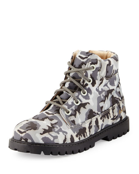 AKID Atticus Camo Hiking Boot, Gray, Toddler/Youth