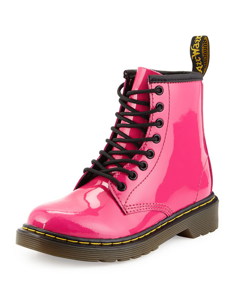 Dr. Martens Delaney Patent Leather Military Boot, Hot Pink, Youth