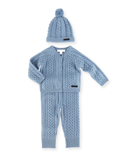 Kaio Cashmere-Blend 3-Piece Gift Set, Slate Blue, Size 3M-2Y