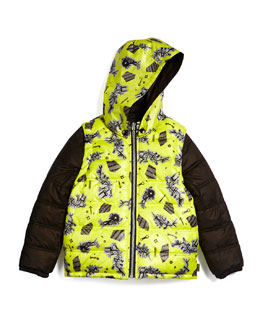 Convertible Zip-Front Puffer Jacket, Brown/Yellow, Size 6-10