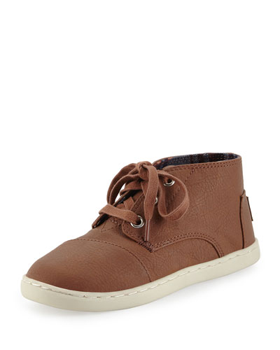 Faux-Leather Paseo Mid-Top Shoe, Medium Brown, Youth