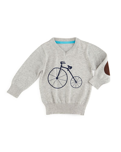 V-Neck Bicycle Pullover Sweater, Gray, Size 6-24 Months