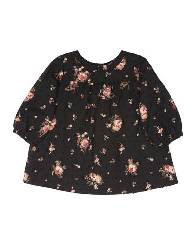 Long-Sleeve Floral Shift Dress, Black, Size 18M-2