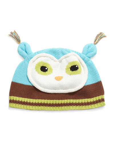 Boys' Knit Owl Hat, Blue