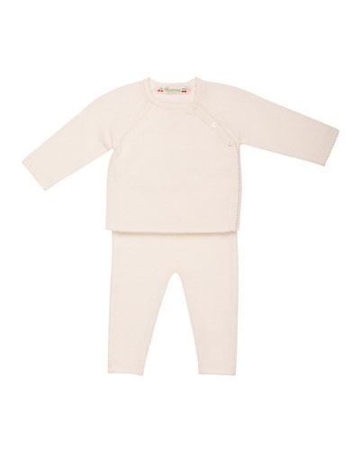 Knit Cashmere Long-Sleeve Top & Pants, Size Newborn