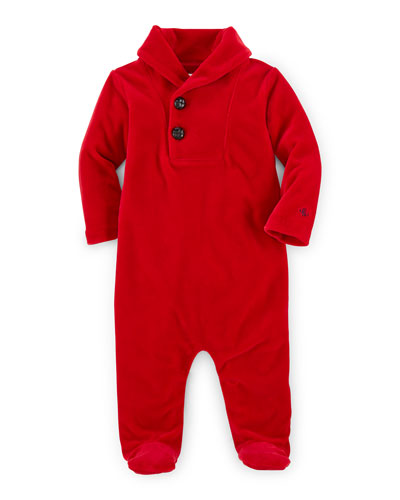 Pima-Blend Velour Footie Pajamas, Park Avenue Red, Size 3-9 Months