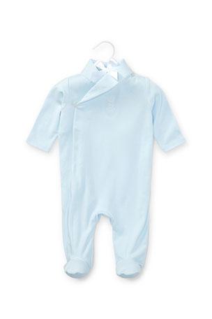 Ralph Lauren Childrenswear Shawl-Collar Pima Footie Pajamas, Beryl Blue, Size 3-9 Months