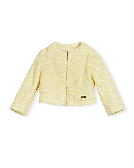 Pili Carrera Tweed Cardigan Jacket, Yellow, Size 4-12
