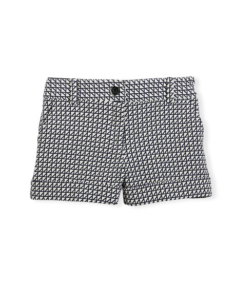 Pili Carrera Printed Cotton-Blend Shorts, Navy/White, Size 4-12