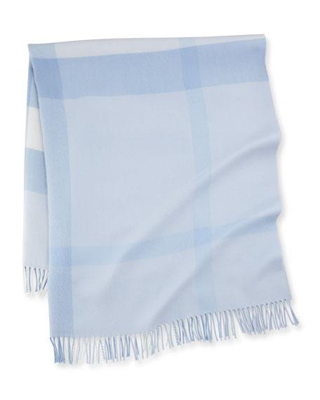 Burberry Mega-Check Merino Wool Baby Blanket, Ice Blue