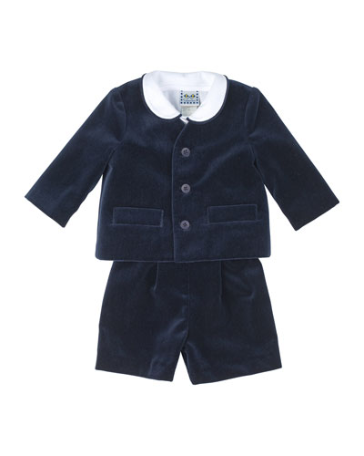 Eton Velvet Suit w/ Shirt, Navy, Size 12-24 Months
