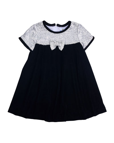 Sequin-Trim Velvet Dress, Black, Size 2-6