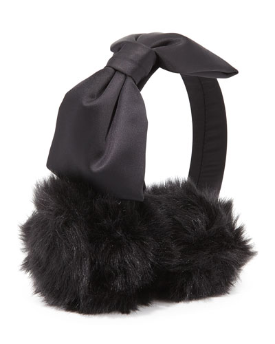 satin faux-fur earmuffs, black