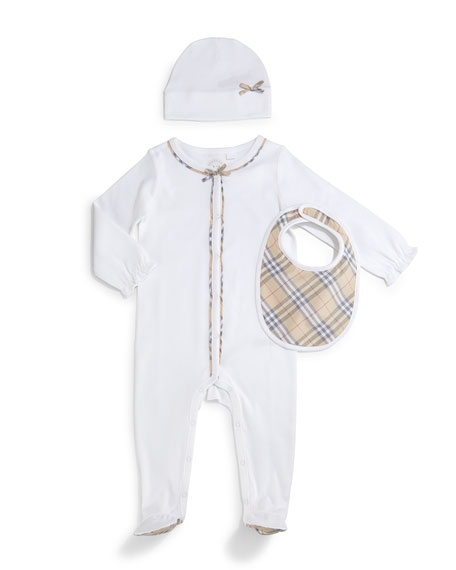 Burberry Jacey 3-Piece Footie Pajama Set, White, Size
