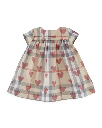 Maud Check & Heart Dress, Tan/Pale Pink, Size 3-24 Months