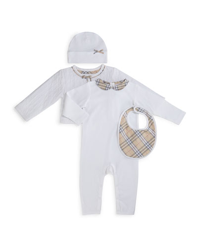 Zaria 4-Piece Coverall Set, White, Size 1-24 Months