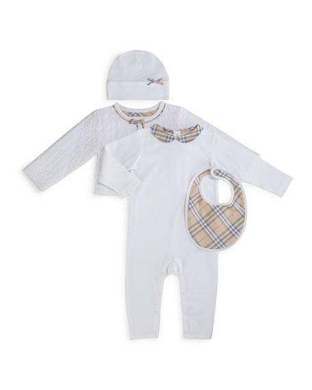 Burberry Zaria 4-Piece Coverall Set, White, Size 1-24