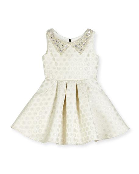 Zoe Embellished Metallic Polka-Dot Swing Dress, Ivory, Size