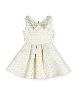 Embellished Metallic Polka-Dot Swing Dress, Ivory, Size 7-16
