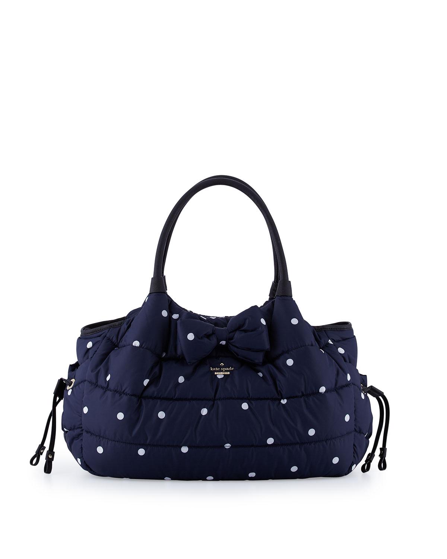 Stevie Quilted Polka Dot Diaper Bag Navy